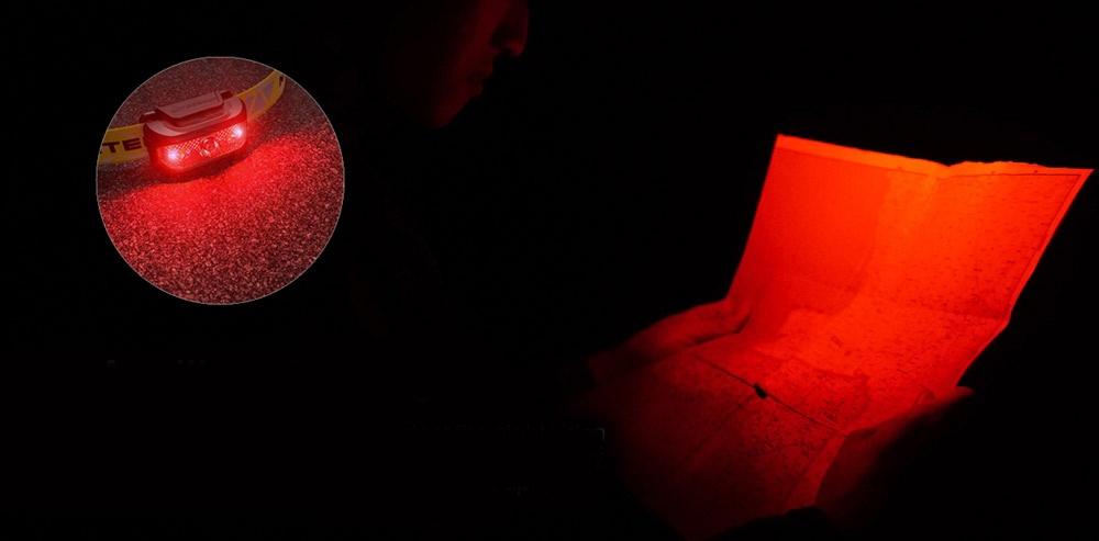 režim červeného světla čelovka